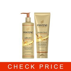 Pantene, Shampoo and Sulfate Free Conditioner Kit, with Argan Oil, Pro-V Gold Series, for Natural and Curly Textured Hair, 17.9 fl oz