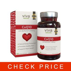 Viva Naturals CoQ10 Supplement with BioPerine (400mg) – 60 Vegetarian Softgel